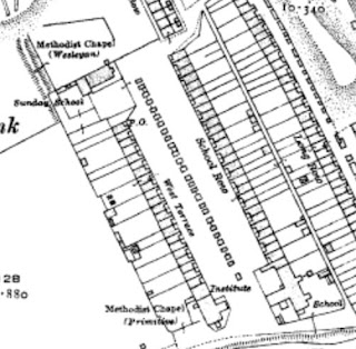 A close up of West Terrace and School Row in Page Bank from a 1920s map.