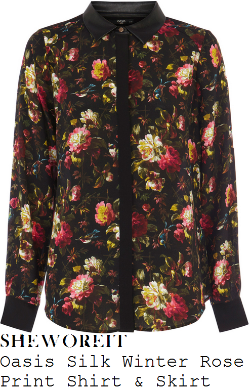 mollie-king-black-winter-floral-print-shirt-and-skirt