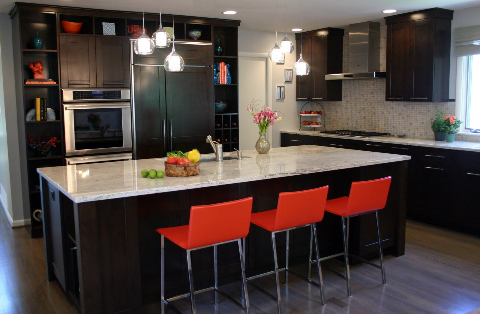 We selected espresso stained cabinets by christiana for Kitchen designs red and black