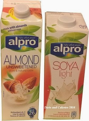 Alpro Almond Unsweetened and Alpro Soya Light