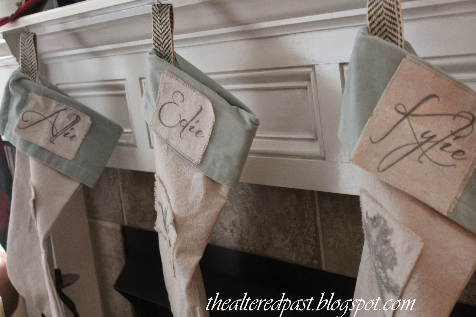 dropcloth and aqua velvet christmas stockings, the altered past