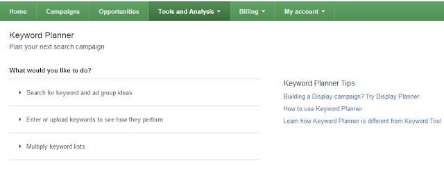 New Google Ad word Keyword Planner