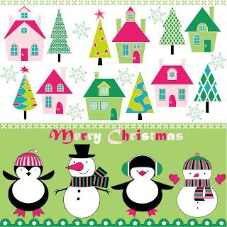 優しいイメージのクリスマスの背景 cartoon christmas background イラスト素材