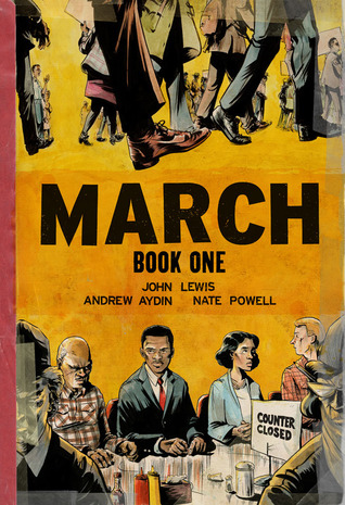 March Book One by John Lewis is a non-fiction autobiography written about his experience during the civil rights movement in the south (North Carolina, Alabama, Tennessee, etc.).  He writes about his meeting with Martin Luther King, and the non-violent protests he participated in for blacks to have equal rights.  This graphic novel is a fast read (little language) and perfect for a reluctant high school student.  This would make a great book for a high/low student needing to read a biography for a school project.  Best for high school students and up. Alohamora Open a Book http://www.alohamoraopenabook.blogspot.com/
