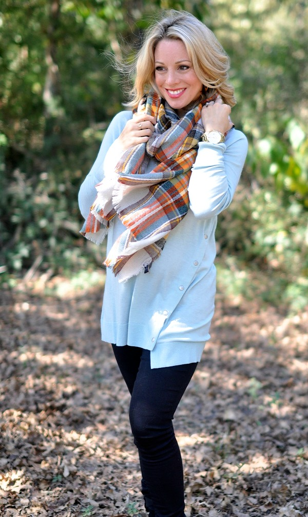 Fall/Winter fashion - Halogen Asymmetrical Snap Detail Tunic with ModCloth plaid scarf