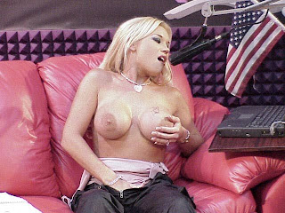 hot blond masturbates during a radio show
