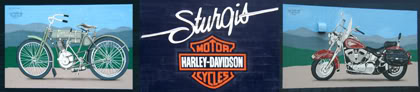 Murals at the Sturgis Harley-Davidson dealership · by artist Kyle Holdridge