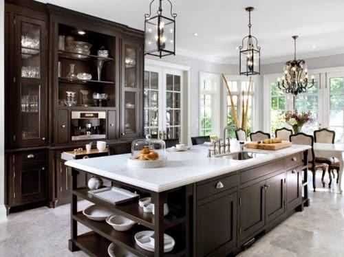 espresso kitchen cabinets white countertop