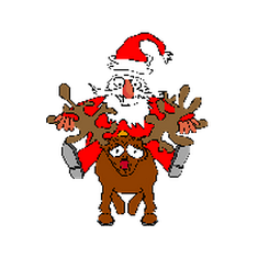Picture of Father Christmas riding a red-nosed reindeer