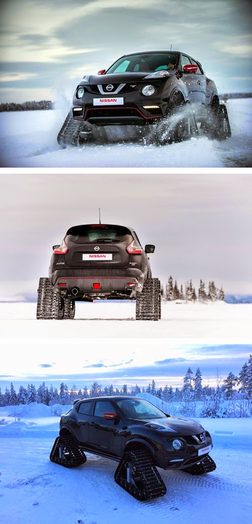 سيارة نيسان تتحول الى دبابة لتقهر الثلوج