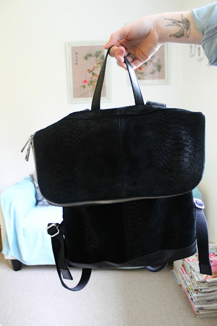 ASOS Leather Embossed Black Backpack Crocodile Print Fashion Blogger Review