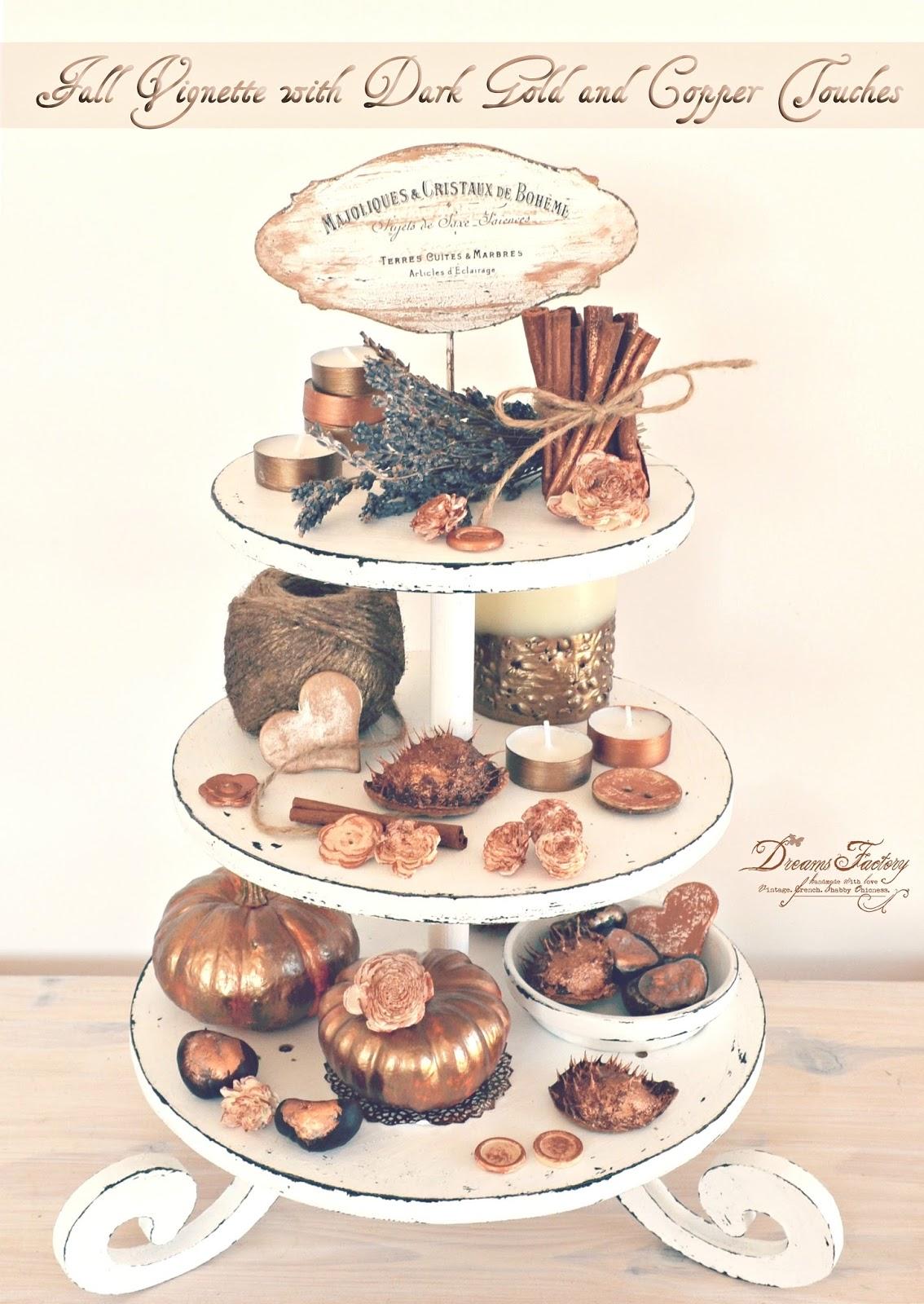 Fall Vignette with Dark Gold and Copper Touches ♦ Aranjament de toamna cu accente aurii si aramii