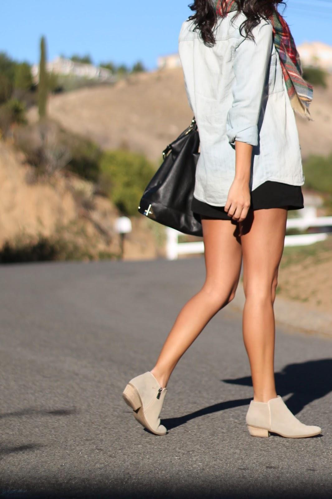 chambray shirt black shorts