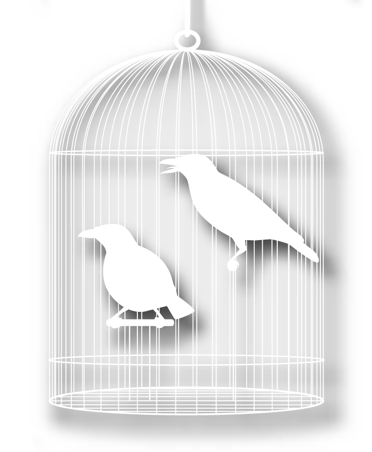 籠の鳥を切り抜いたシルエット Cage with a bird silhouette vector イラスト素材