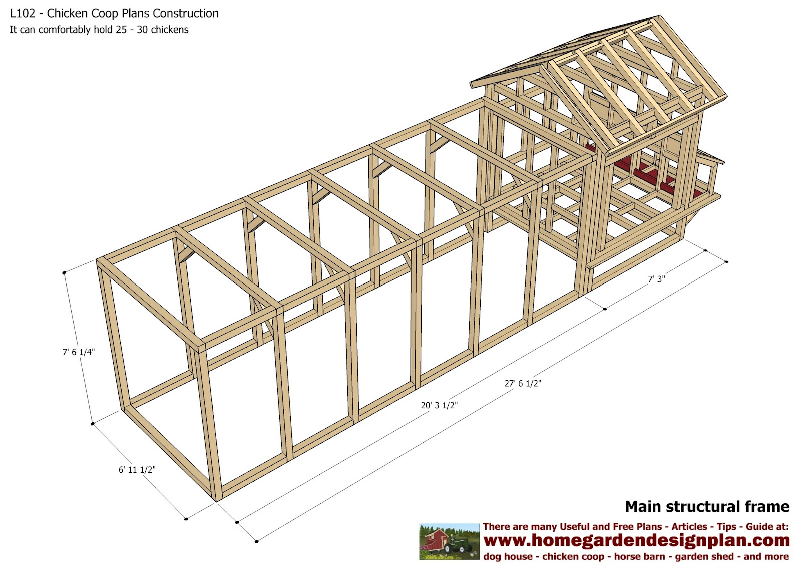 Home garden plans l102 chicken coop plans construction for A frame chicken