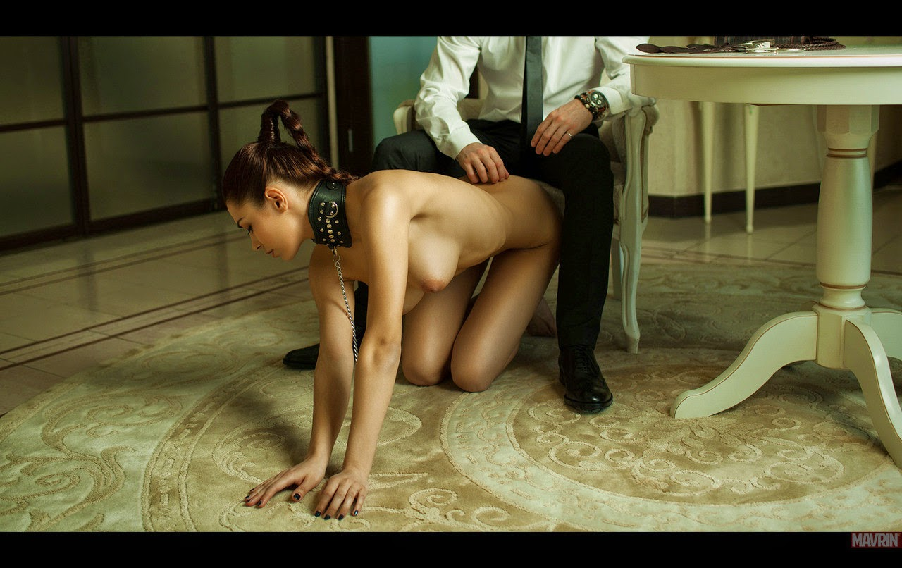 Man in suit and submissive slut