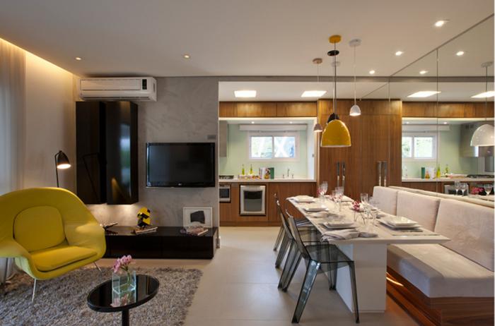 sofa, mesa, jantar, sala, cozinha, lanchonete, americana, moderno, contemporaneo, cadeira, decoração, ideia