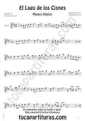 Tubescore Swan Lake by Tchaikovski Sheet Music for Oboe Swan Lake for Oboe Music Score Classical Music