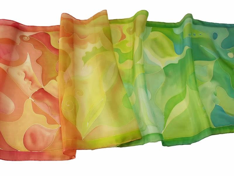 """Születésnapi ajándék nőknek: kézzel festett selyemsálak - """"Áldás"""" női sálak"""