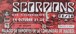 entrada de concierto de scorpions