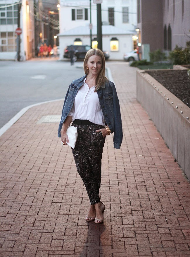 old navy shirts, loft floral fluid pants, jcrew jean jackets, steve madden sandals, clare v clutch, julie vos jewelry