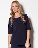 Bluza moderna, asimetrica, de culoare bleumarin ( )