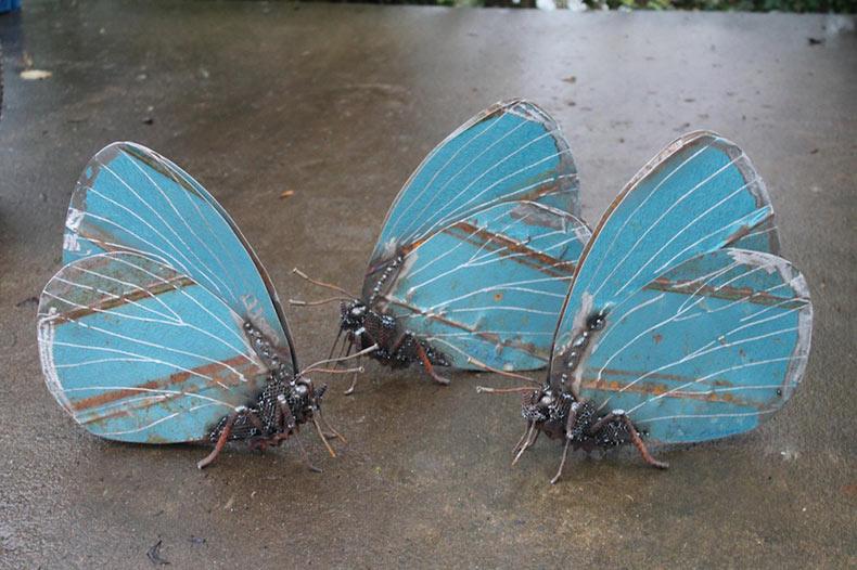 Insectos soldadas producidos a partir de trozos de metal rescatados por John Brown