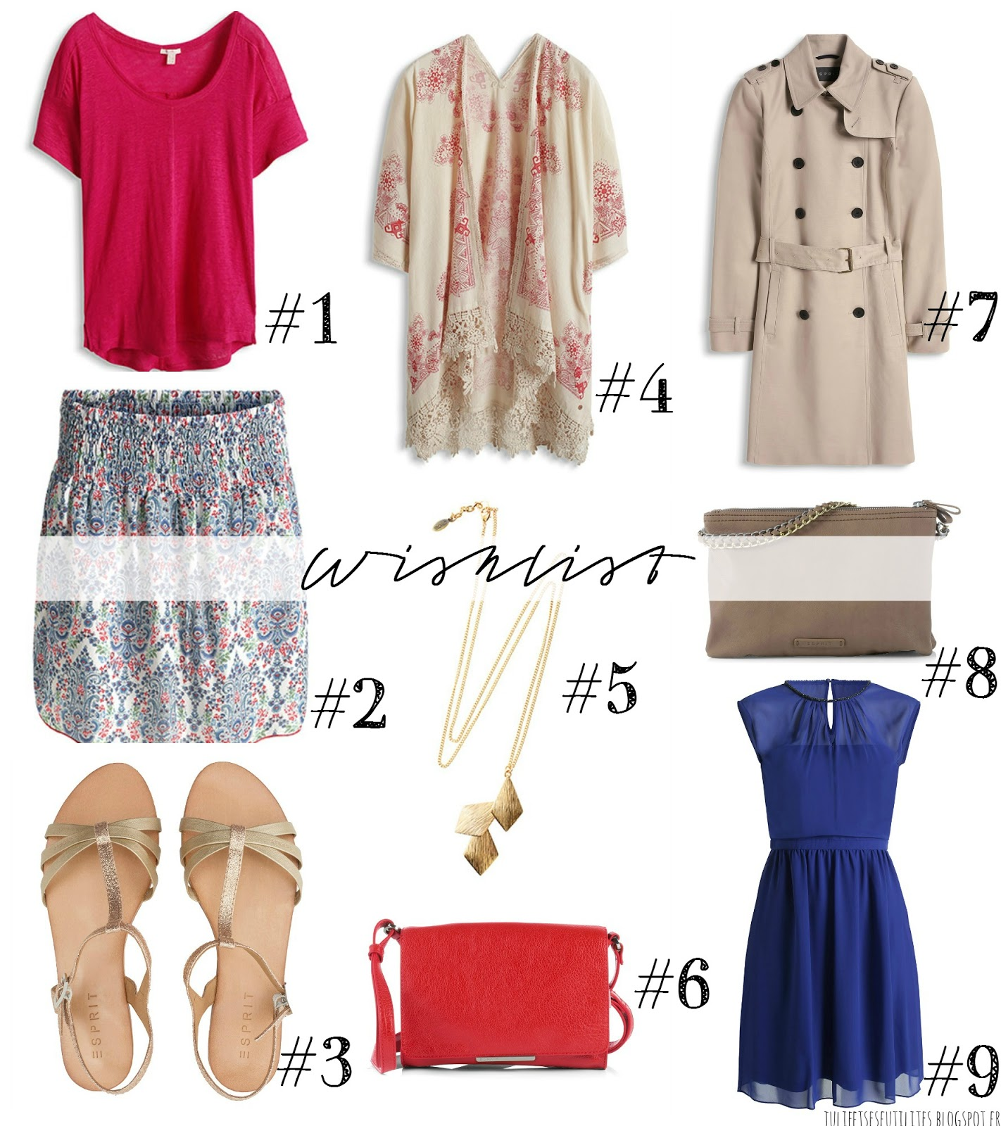 wishlist mode Esprit printemps-été 2015 julieetsesfutilites.blogspot.fr