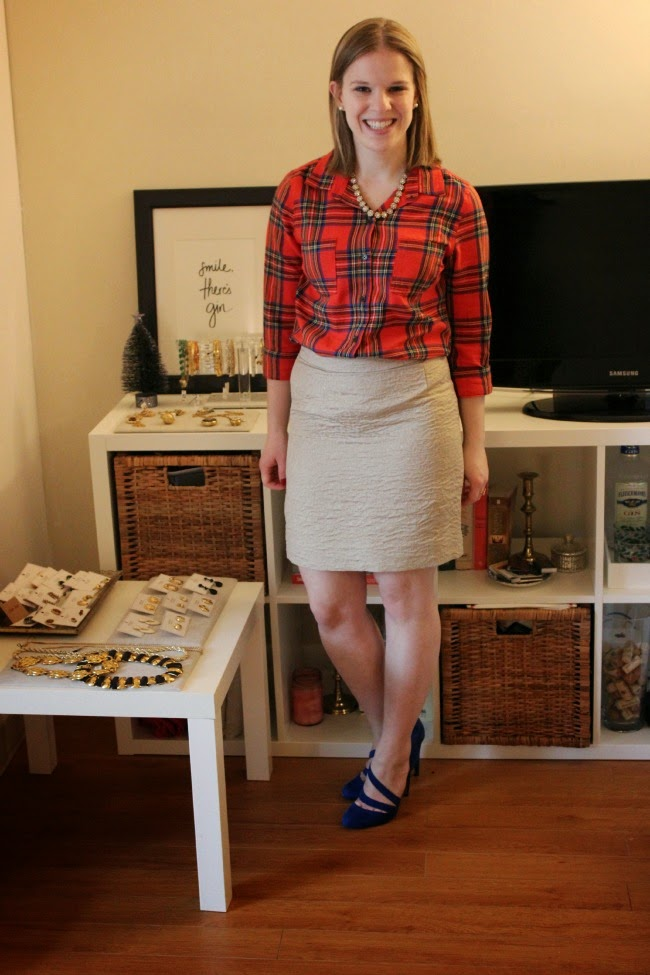 Bloggers who Budget: Holiday Look for Less, gold skirt, cobalt heels, @solesociety heels, plaid flannel