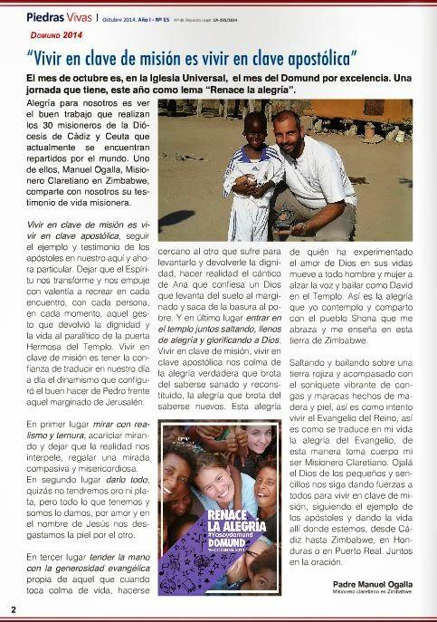 Misionero en Zimbabwe (Pág. 2 de la Revista diocesana Piedras Vivas)