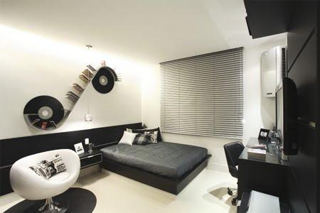 Dormitorio blanco y negro para jovencito quarto do rapaz for Dormitorios modernos en blanco y plata