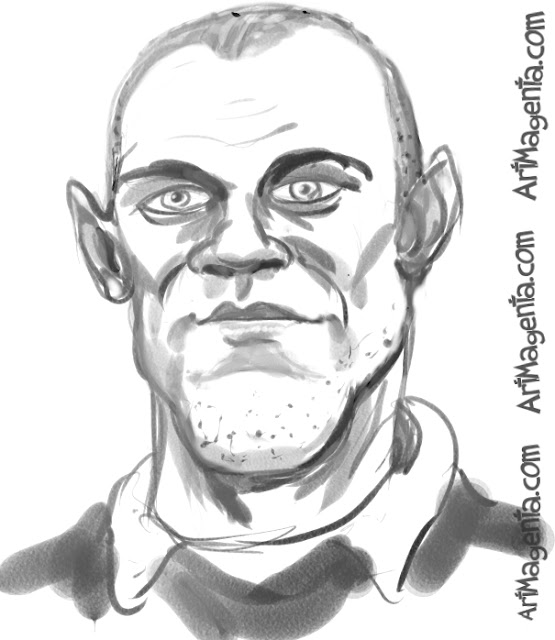 Wayne Rooney caricature cartoon. Portrait drawing by caricaturist Artmagenta.