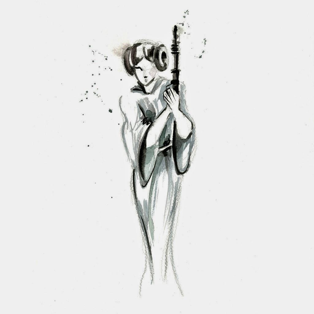 07-Princess-Leia-Organa-1-Carrie-Fisher-Clémentine-Campardou-Blule-Star-Wars-IV-V-VI-Watercolors-www-designstack-co