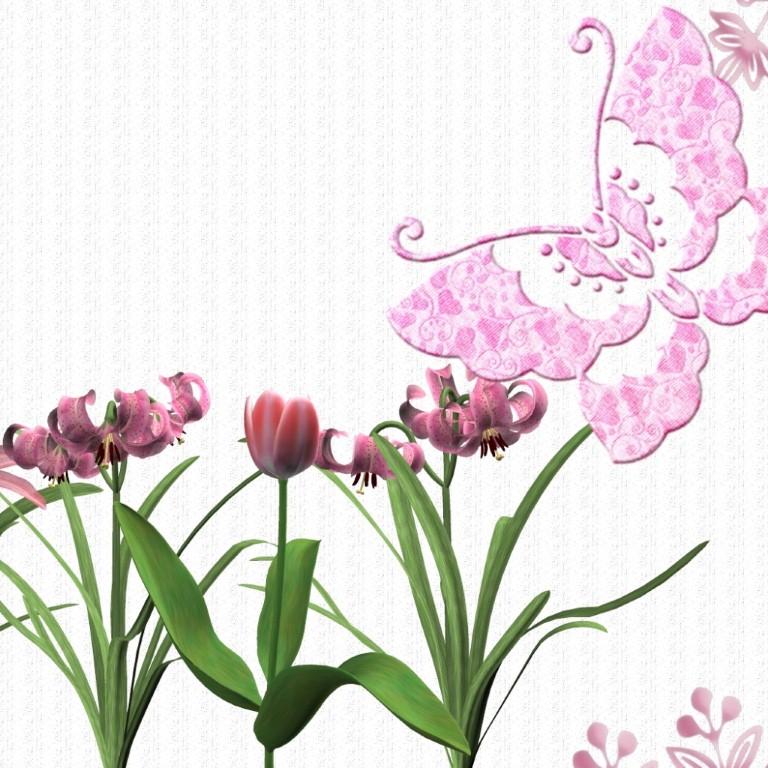 Pink Butterfly Wallpaper: Pink Flower Wallpapers
