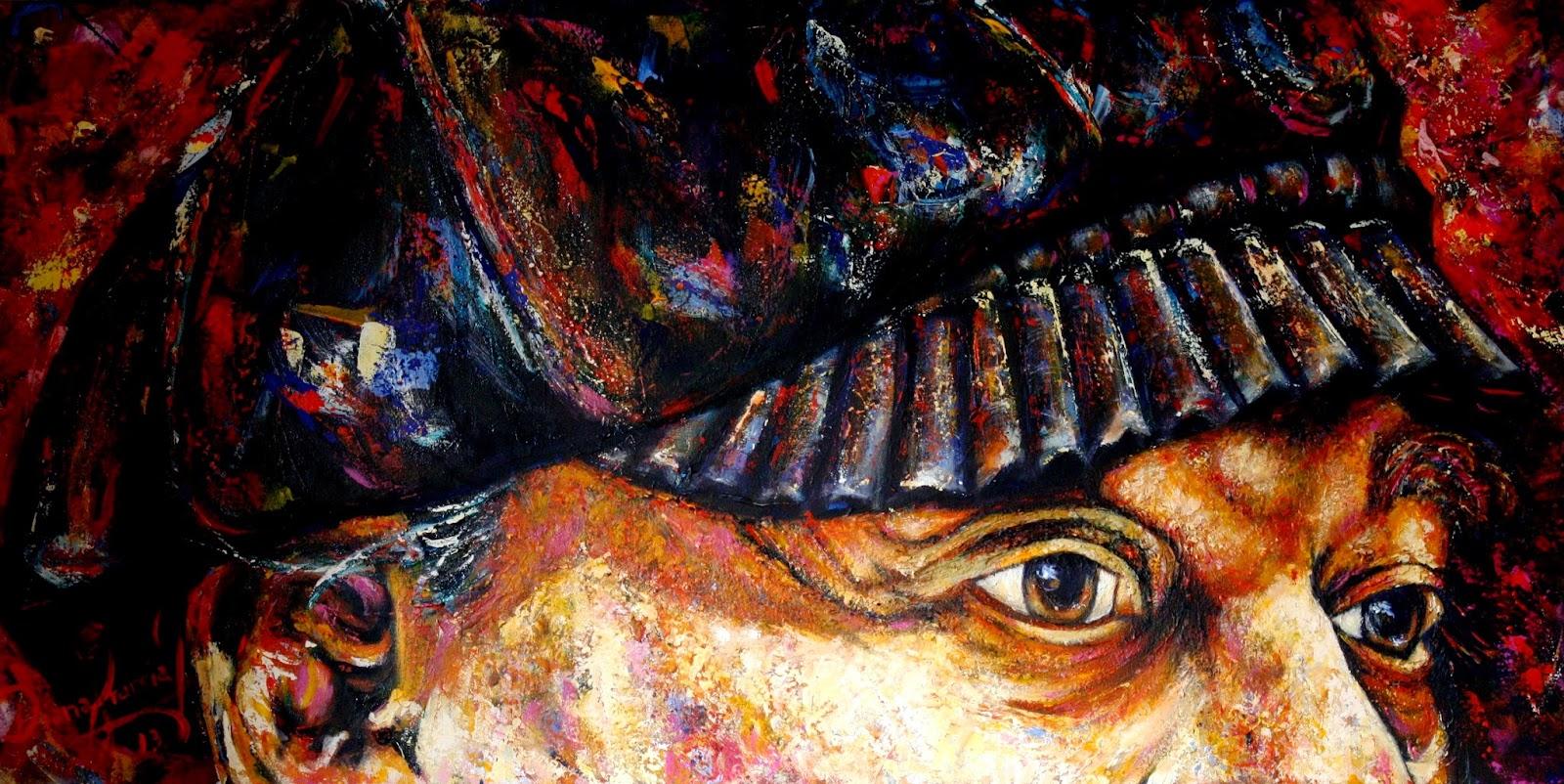 Una obra sobre la mirada de loochkartt Mixta sobre lienzo 60x120 cm autor Diana Francia