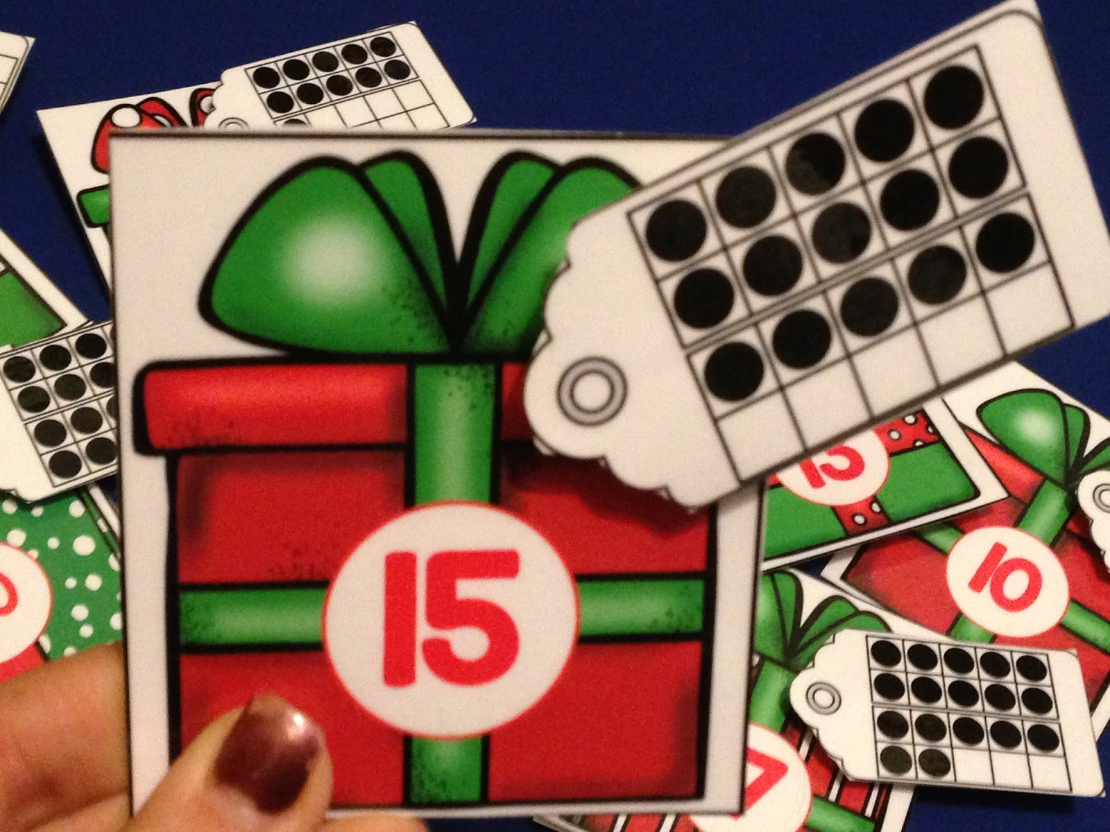 ten frame, december math center.  Christmas math