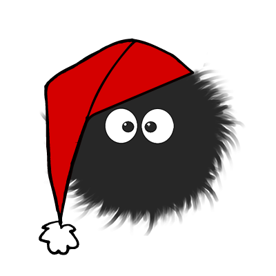 Cute fluffy dazzled bug with a red Christmas hat