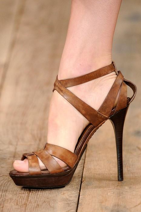 Brown Strappy Sandals Heels