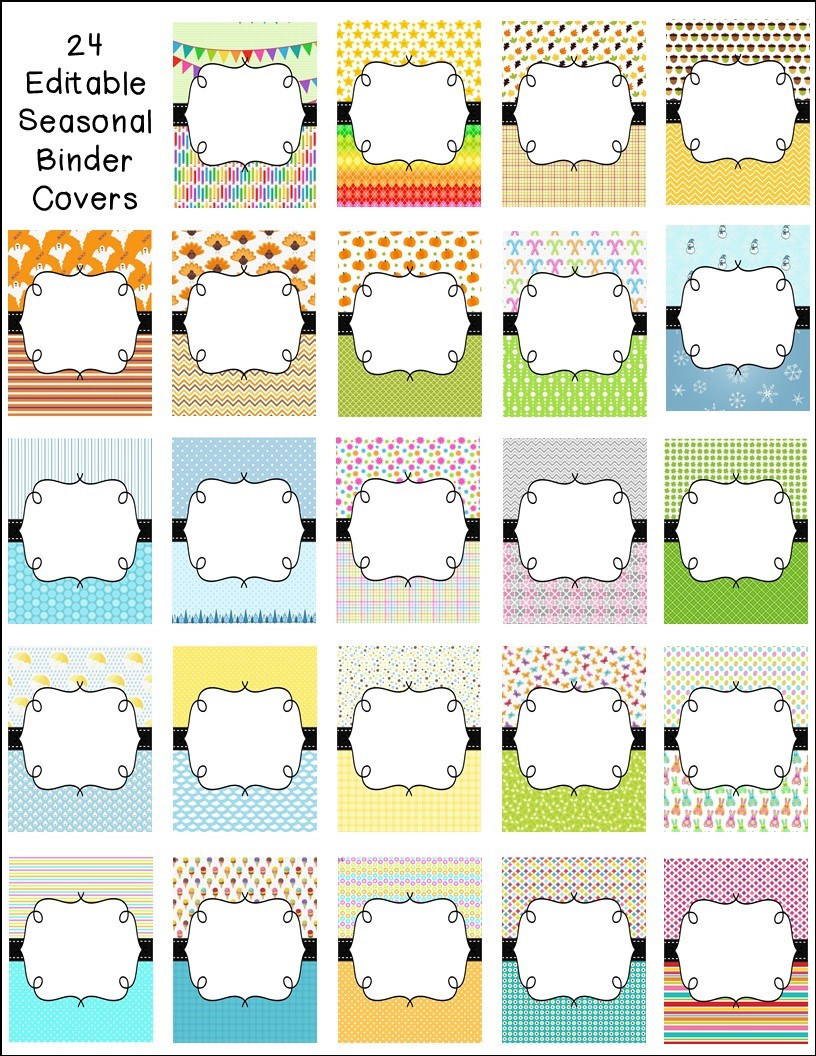 http://www.teacherspayteachers.com/Product/Editable-Seasonal-Binder-Covers-and-Side-Labels-1307744