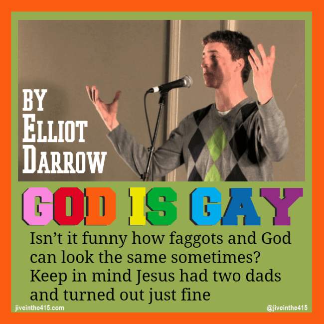 A still photograph of Elliot Darrow, taken during the performance of 'God Is Gay'