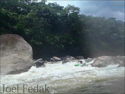 Chris Baer in another fun class 4 rapid, colombia, rio Putumayo