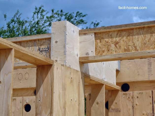 Uniones de madera en la estructura de la casa