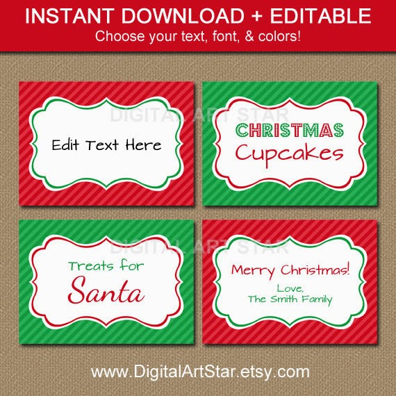 Printable Editable Christmas DIY Food Labels