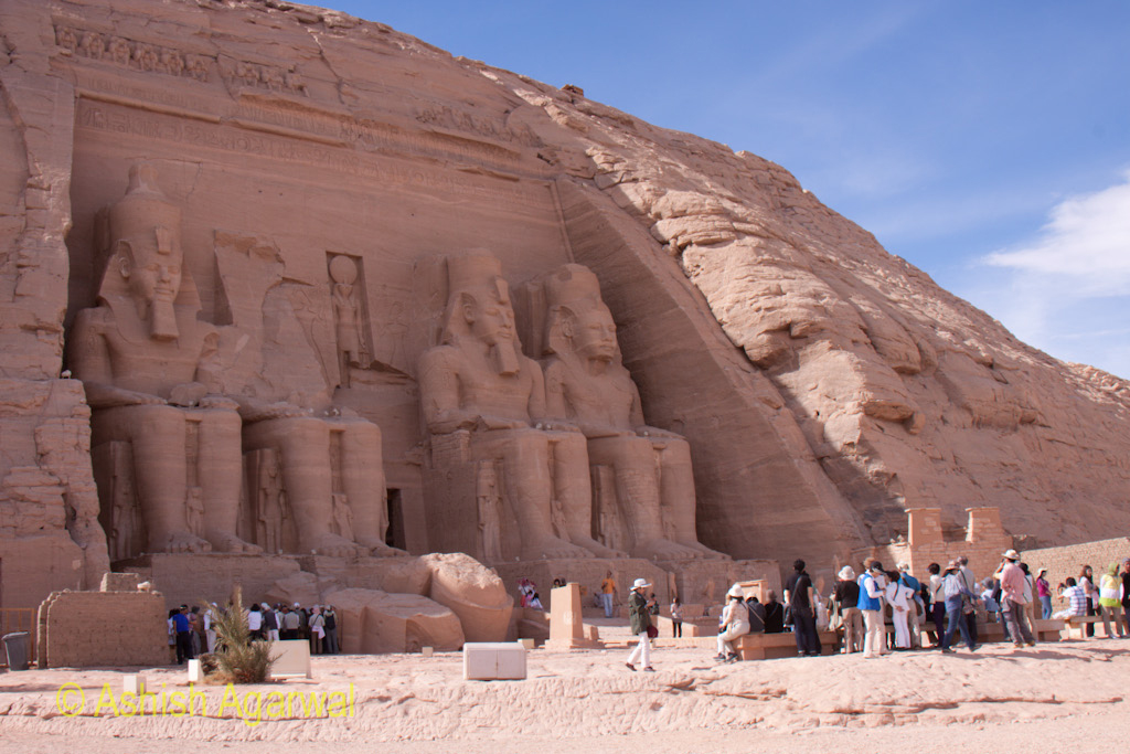 Mass of tourists in front of the main temple at Abu Simbel in south Egypt
