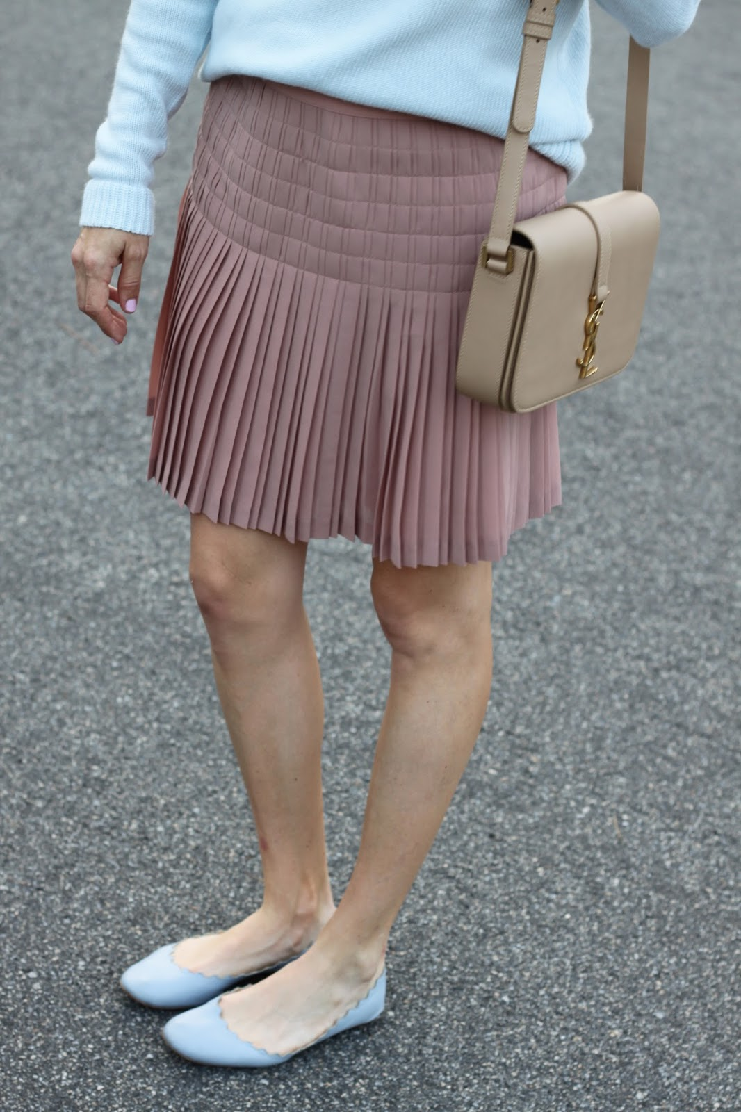 blush pleated skirt and chloe scalloped flats
