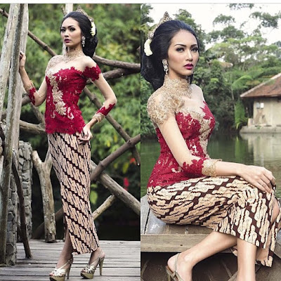 kebaya broklat merah dengan rok motif batik parang