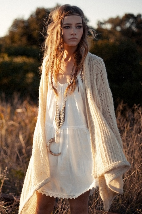 Beautifully Reckless hippie style baggy clothing and hair