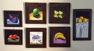 Group of small still life paintings of fruits in oils done by Manju Panchal