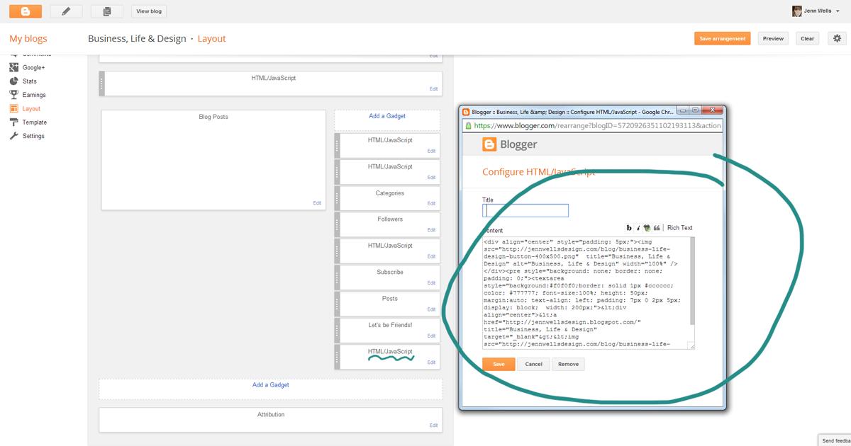 Blogger layout for adding custom html