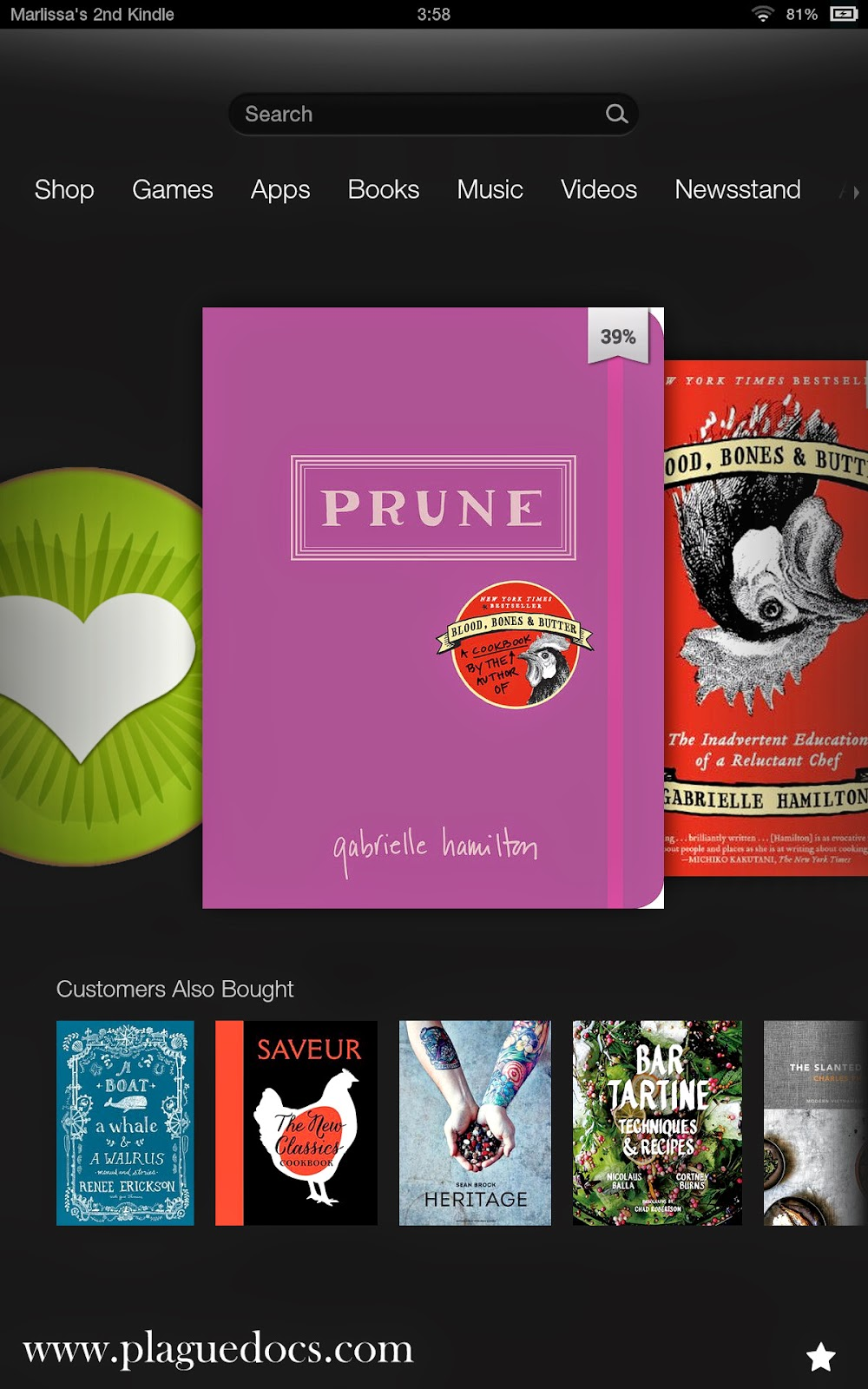 "Kindle screenshot of covers for ""Prune"" and ""Blood, Bones & Butter"""